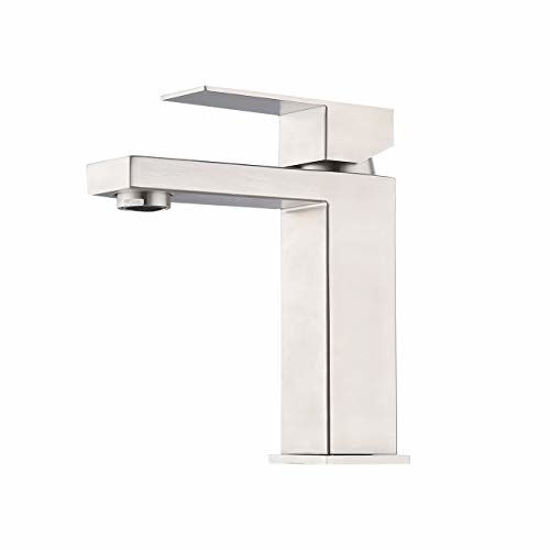 Picture of KES cUPC Certified Modern Bathroom Faucet Single Handle Vanity Sink Faucet SUS 304 Stainless Steel Rust Free, Brushed Steel L3156ALF-BS